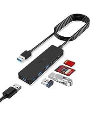 TSUPY Hub USB 3.0 1.2M 5 Porta Adattatore USB con 3 USB 3.0, Lettore Schede SD Micro SD USB Hub Prolunga USB Sdoppiatore USB Multipresa USB 5Gbps per MacBook PRO Chiavetta USB e Altri