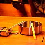 DUOUPA 4 Stücke Edelstahl Aschenbecher 10cm Durchmesser Windschutz Aschenbecher Moderne Tischplatte Aschenbecher Basis für Home Office Innenraum und Draußen - 7