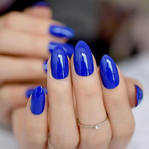 Wangguifu Populaire Uv Gel Couverture Nail Autocollant Sharp Faux Ongles Brillant Bleu Foncé Plein Nail Premium Set 24 Pcs