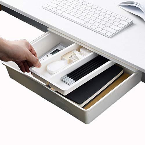 BOBORA Organizer scrivania cassetto del Desktop Vassoio cancelleria cassetto portaoggetti Organizer Nascosta Autoadesivo Organizer cassetti, Organizer per Ufficio, casa, Scuola