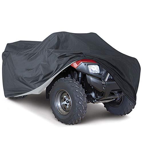 ZZX Copertura per ATV, 190T Poliestere Impermeabile PVC Universale Telo Copri Moto ATV Quad Copertura Durevole per Esterni, Nero,XXXL