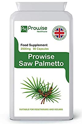 Saw Palmetto Extract 2500mg 90 Capsules - UK Manufactured - Saw Palmetto Hair Loss, Urinary Tract and Prostate Health Support Supplement for Men, Healthy Prostate Function in Men by PROWISE HEALTHCARE