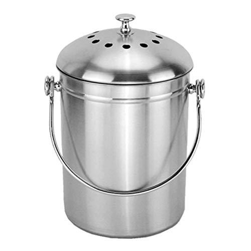 5L Seau à Compost en Acier Inoxydable Poubelle à Compost pour Comptoir de Cuisine Bac à Compost de Cuisine Seau à Compost Cuisine Compost avec Couvercle,Composteur de Cuisine pour Déchets Alimentaire