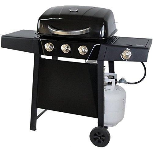 RevoAce 3-Burner LP Gas Grill with Side Burner, Black
