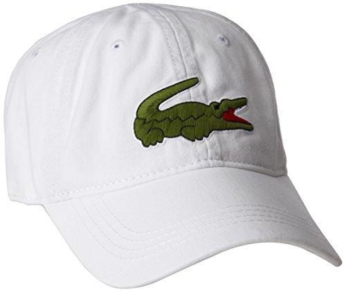 Lacoste Mens Classic Big Croc Gabardine Cap Baseball Cap, White, One Size