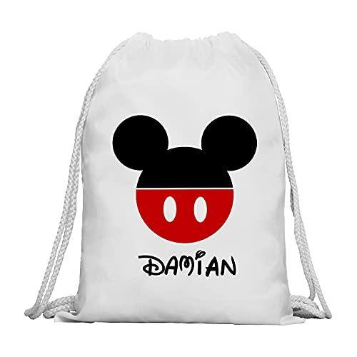 Kembilove Mochila Personalizada con Nombre Infantil – Mochilas Saco Personalizadas con el Nombre del Niño o Niña – Mochila Cuerdas Vuelta al Cole de Mickey