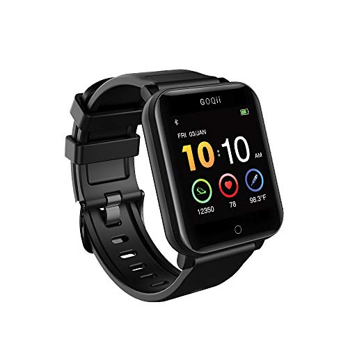 GOQii Smart Vital Fitness SpO2 Body Temperature And Blood Pressure Bluetooth Activity Tracker With 3 Months Personal Coaching (Black,Battery)