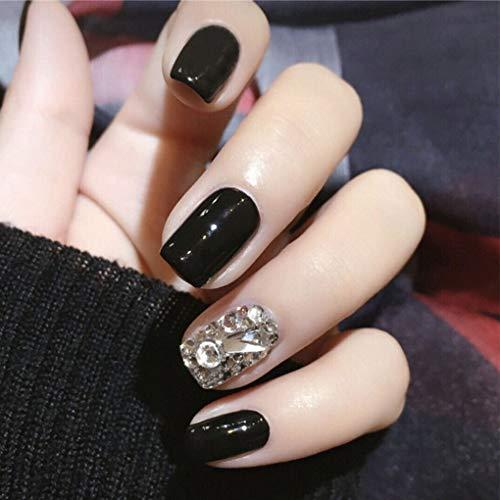 Olbye Glossy Fake Nails Short Black Press on Nails 3D Bling Glitter False Nails Square Full Cover Acrylic Nails for Women and Girls 24Pcs (Black)