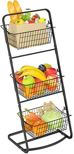 Market Basket Stand GSlife 3 Tier Wire Fruit Basket Stand Floor Standing Storage Basket for Fruit Vegetable Produce Kitchen Countertop Pantry Bathroom Decor Black