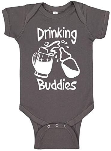 Reaxion Aiden's Corner - Funny Baby Boy & Baby Girl Clothes - Drinking Buddies Infant Bodysuit (0-3 Months, Mug Charcoal)