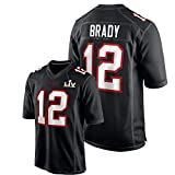 Tǒm Brǎdy Herren American Football Trikot,# 12 Buccǎneers Youth Atmungsaktive Kurzarm Black Bound Game Fashion Jersey L