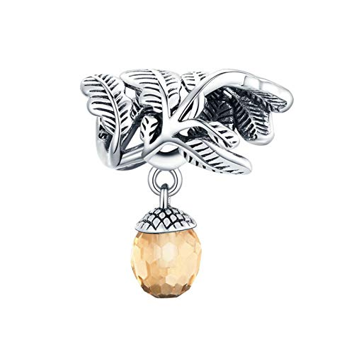 HMMJ Charms Dangle Beads,S925 Sterling Silver Lucky Pine Cone DIY Handmade Leaf Fruit Zircon Pendant for Pandora Troll Chamilia Charm Bracelet Necklaces