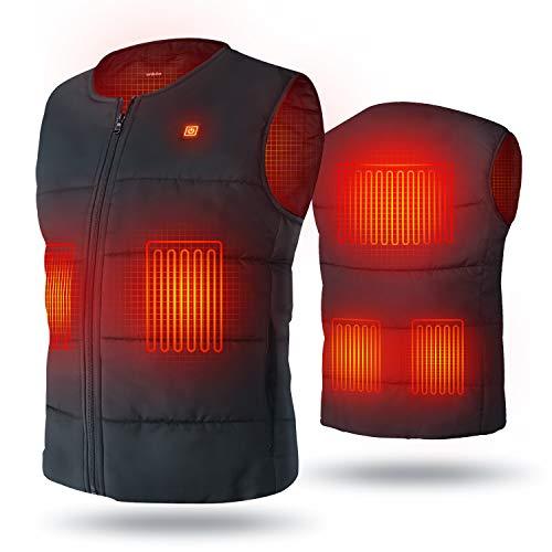 UNBON Gilet Chauffant Homme Femme Veste Chauffante Électrique USB Vêtement de Chauffage avec 5 Zones de Chauffé 3 Températures Réglables Gilet Chaud Lavable pour Hiver Moto Chasse