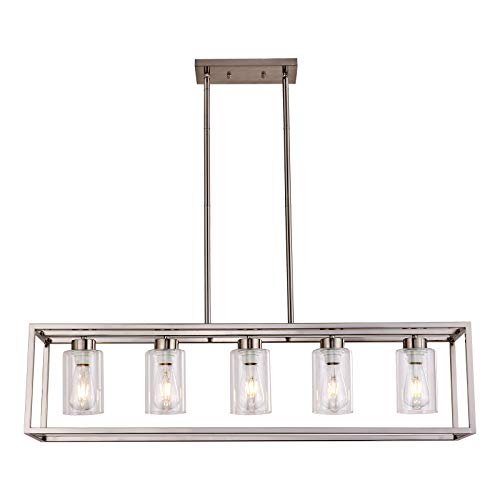 Sivilynus 5 Lights Brushed Nickel Dining Room Chandelier Hanging Light Fixture Modern Kitchen Island Linear Lighting Farmhouse Chandelier with Clear Glass Shade for Bar Restaurant