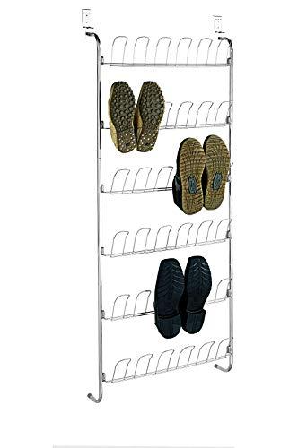WENKO Türregal für Schuhe - für 18 Paar, 59 x 151 x 14 cm, silber glänzend