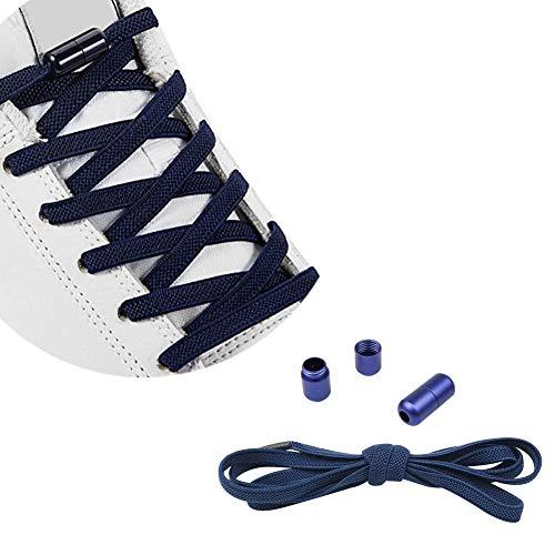 QCHMM EU Elastische Gummi Schnürsenkel mit Metallverschluss, Ohne Binden Gummischnürsenkel, Schnürsenkelersatz, Schleifenlose Schuhbänder - Flexible Schuhband Schnellschnürsystem für alle Schuhe