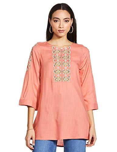 global desi Women's Solid Regular Tunic Shirt (SS21GM074TURYS_Pink XXL)