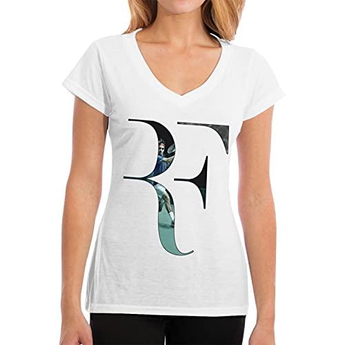 Superstar Roger-Federer Merch T Shirt Vestiti per le Donne Donna Cotone V Neck Tee Shirt Manica Corta Nero Tshirt, bianco, L