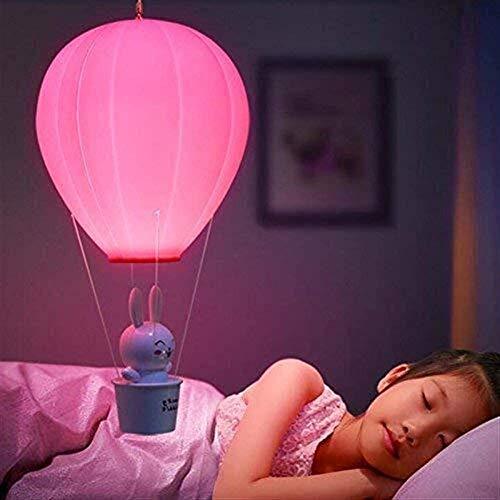 ZHLFDC ED-Nachtlicht mit Luftballon, Warm, dimmbare, Kinder Licht mit Fernsteuerungsschalter, Wandleuchte, Wiederaufladbare, Kinder USB-Baby-Rosa