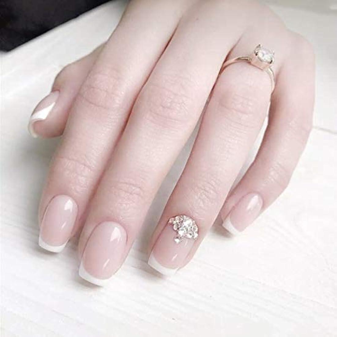 とげのある再生ポルティコロマンチックのフランス風ネイルチップ 付け爪 花嫁ネイルパーツ つけ爪 ネイルジュエリー ネイルアート