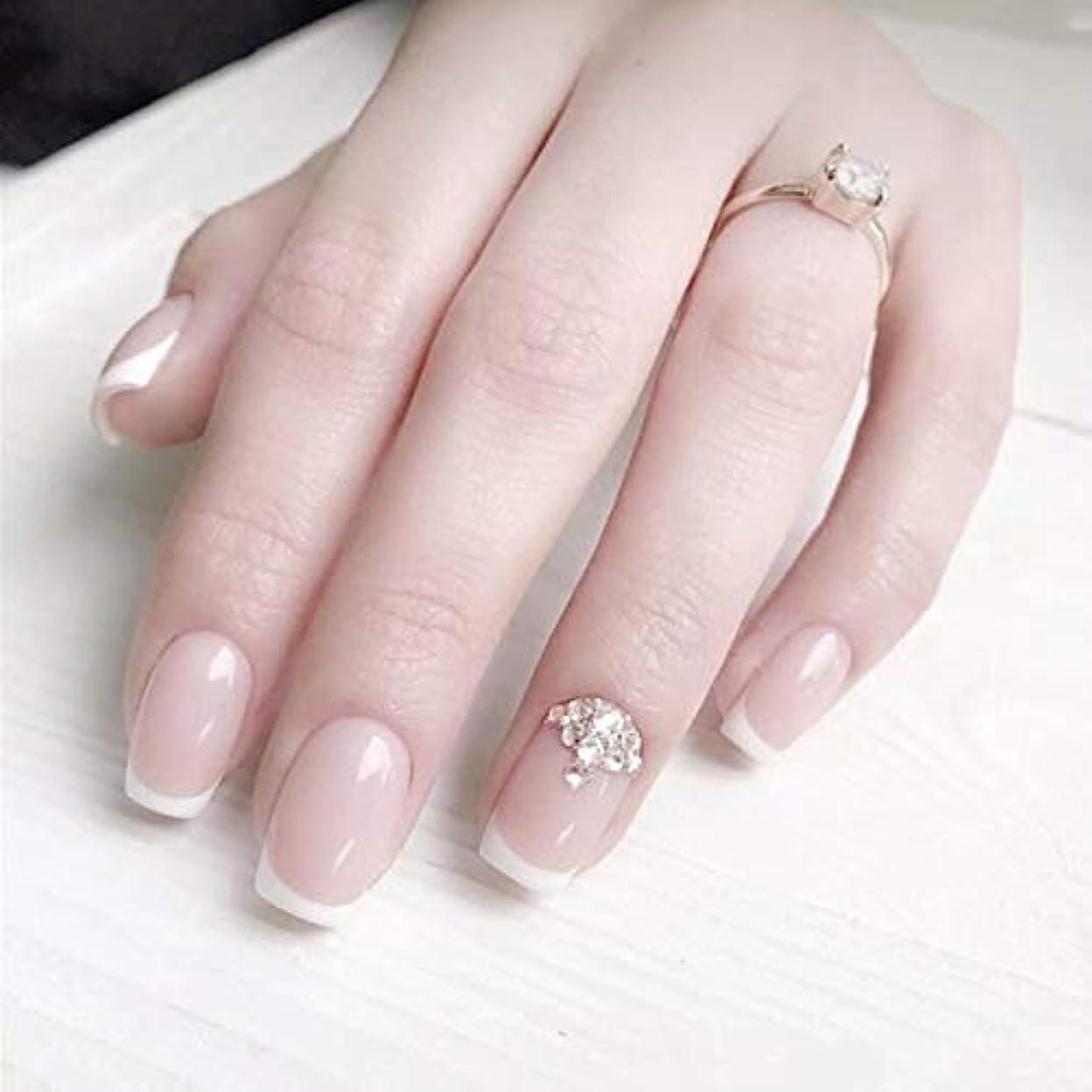 エスカレーター法医学腸ロマンチックのフランス風ネイルチップ 付け爪 花嫁ネイルパーツ つけ爪 ネイルジュエリー ネイルアート