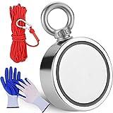FINDMAG 1000 lbs Haftkraft Doppelseitiger Neodym Magnet, Magnete Stark, Magnetfischen, Magnetangeln, Neodym Magnete Extra Stark, Seltenerdmagnete mit 20m (65 Fuß) robustem Seil und Schutzhandschuhen