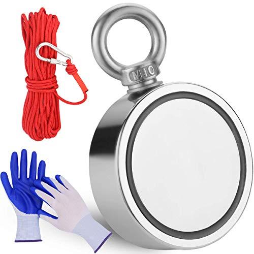 Doppelseitiger Neodym-Angelmagnet Kraftvolle Magnete Angeln, kombiniert 1000 lbs (453KG)-Zugkraft-Seltenerdmagnete mit 20m (65 Fuß) robustem Seil und Schutzhandschuhen