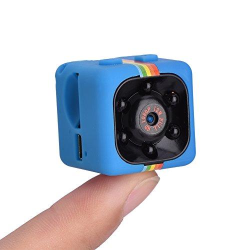 Mini DV, 1080P High Definition Pixel 140° Wide Angle Lens 360° Rotate Bracket IR Night Vision DV, Excellent Present Sports Portable Camera DV(Blue)