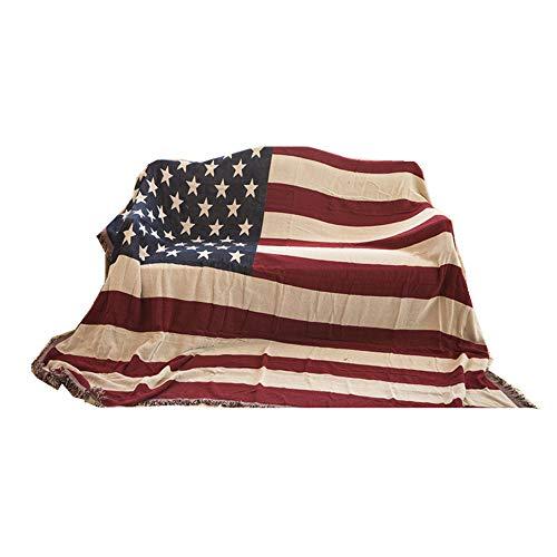 manta sofa,Manta de sofá de lino de algodón con bandera americana, alfombra de mantel universal antideslizante a prueba de polvo de hilo de algodón-130 * 180 cm