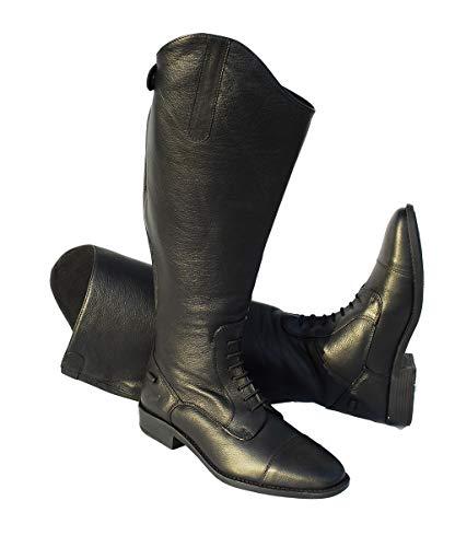 Rhinegold Unisex Leather Laced Riding Boot-7-Extra Wide XW Luxus-Reitstiefel, Leder, Schnürung, Größe 41, extrabreit, Schwarz, Size 7-Extra
