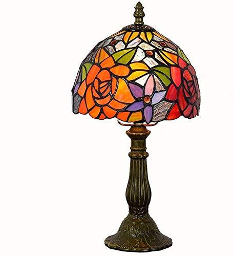 Lámpara de mesa Tiffany estilo, Idílico Rose cubierta de la lámpara de...