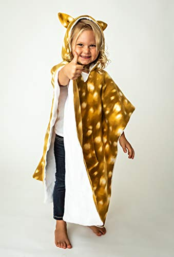 Kids Car Seat Poncho Girl Toddler Blanket Fawn Deer Reversible Pocket Warm Safe Use Over Seat Belt