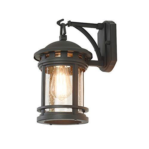 Lantaarn voor buiten, van gegoten aluminium, zwarte wandlamp, E27, met glazen lampenkap, rond, waterdicht, IP23, buitenverlichting, landhuis/balkon, gevel/trappen, hal, terrasverlichting, 18 x 24 x 31 cm