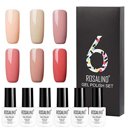 ROSALIND - Esmalte de uñas de gel UV, serie de colores clásicos, semipermanente, diseño de manicura, juego de salón de uñas, 6 botes, 7 ml