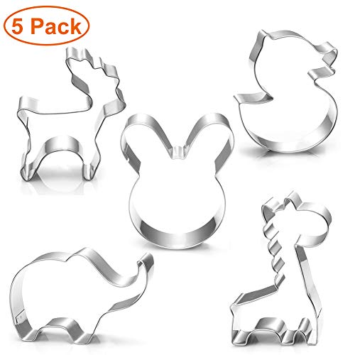 Animal Cookie Cutters, 5 Piece Cookie Cutter Set - Elephant, Giraffe, Rabbit Head, Deer, Duck Stainless Steel Biscuit Fondant Molds for Kids Birthday Party