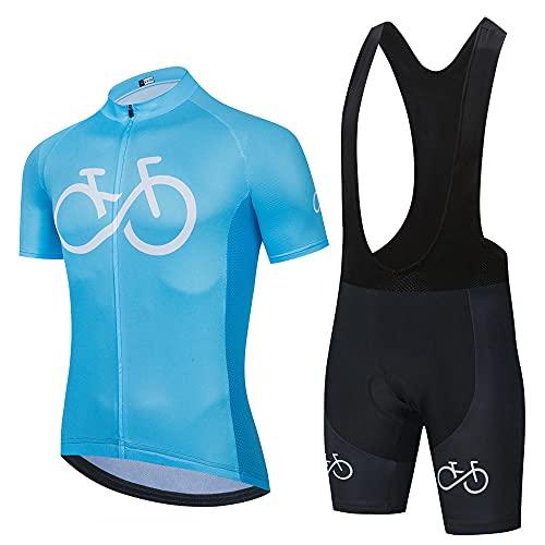 HXTSWGS Conjunto de Maillot de Ciclismo para Hombre de Manga Corta, Ropa de Bicicleta MTB de Carretera, Pantalones Cortos de Bicicleta de Carretera acolchados-A06_XXL