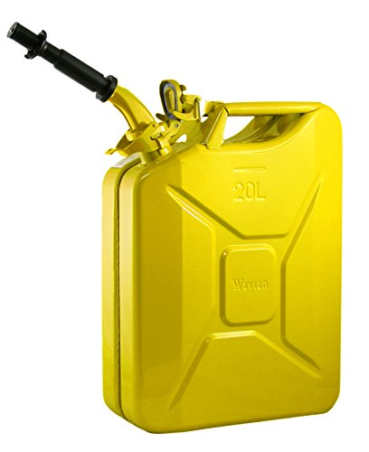 Wavian USA JC0020YVS Authentic NATO Jerry Fuel Can and Spout System Yellow (20 Litre)