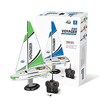 PLAYSTEAM Mini Voyager 280 RC Controlled Wind Powered Sailboat in Green - 14  Tall