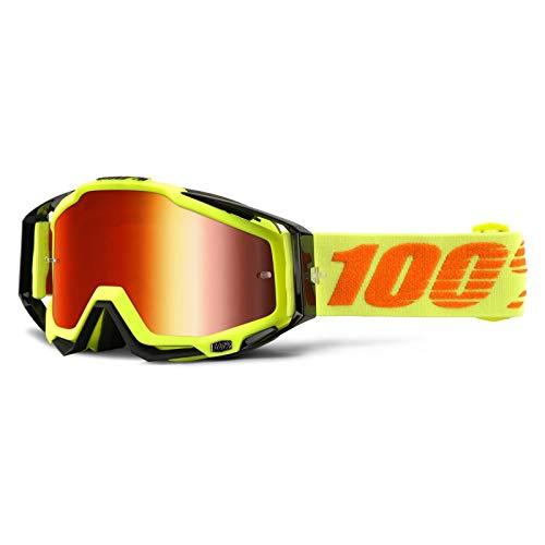100% Racecraft Brille Attack piegel Rot Linse, Gelb , Größe 45 mm
