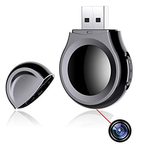 RNNTK para Familia Y Oficina El Personal Voyeur Cámara Oculta,Disco U Grabadora Tomar Audio Multifuncional Spy Camera, Reunión Grabación Cámara con Un Solo Clic Cámara Espía HD Negro 4 GB