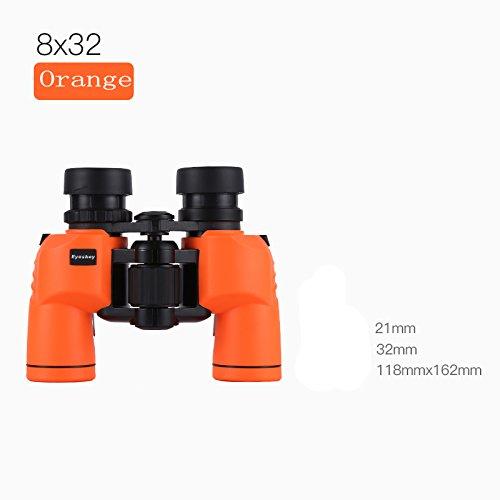 PIGE 8X32 Jumelles pour Adultes Enfants Entièrement Multi-Enduit Optique BaK4 Toit Prisme Azote Randonnée Randonnée Chasse (Couleur : Orange)