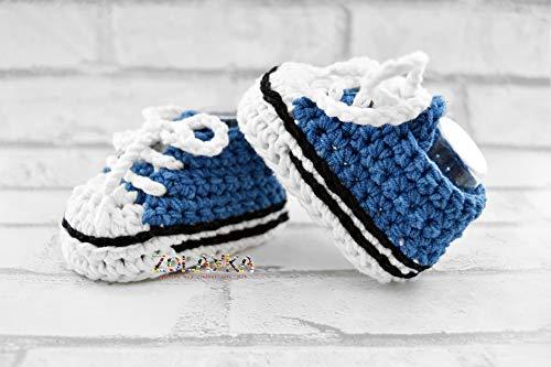 Blue Baby Boy Crochet Bootie, 0-12 months, Handmade Newborn Shoes