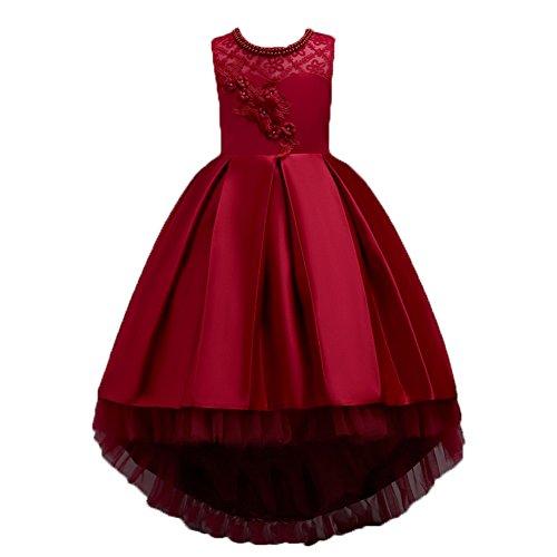Wulide Kinder Mädchen Abendkleid Prinzessin Kleid Festkleid mit Blumen, Rot, Gr.146(Herstellgröße:150)
