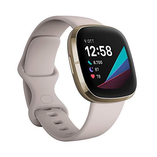 Fitbit Sense - Smartwatch Evoluto con Strumenti per la Salute del Cuore, Gestione dello Stress, Monitoraggio della Temperatura Cutanea, Lunar White/Soft Gold