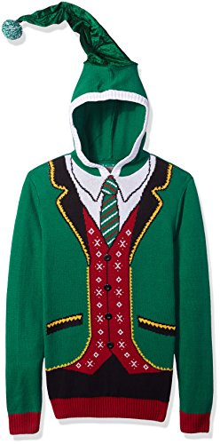 Ugly Christmas Sweater Company Men's Assorted Xmas Sweaters, Eemerald Boss Elf Hoodie, M