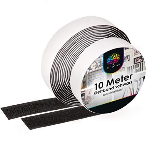 OfficeTree Velcro Adesivo Nero - 10m x 20mm - Aderenza Forte - Striscia Velcro Adesivo per Portafoto, Fai da te