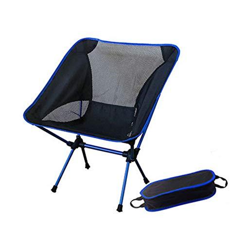 laoga Tragbarer zusammenklappbarer Mondstuhl Angeln Camping Grillhocker Klappbarer erweiterter Wandersitz Garten Ultraleichter Außenstuhl Tisch-Blau_B