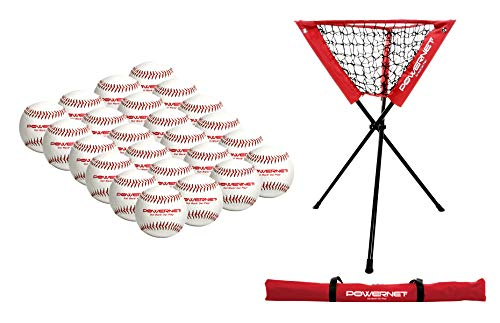 PowerNet 24 PK Practice Baseballs + Ball Caddy Bundle | Perfect for Baseball Soft Toss, Batting, Fielding, Hitting, Pitching, Practice or Training | Save Your Back No More Bending