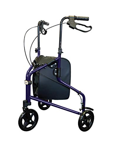 Tuffcare Freedom Lightweight Aluminum Walker for Seniors, Foldable, Rollator Walker with Three Wheels, Height Adjustable Handles (Midnight Blue)