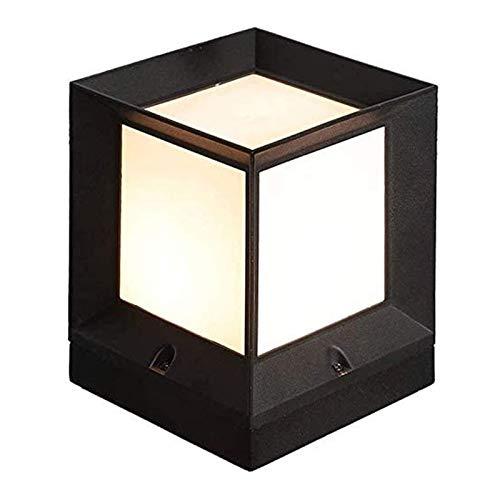 YYCHJU Suave, no Deslumbrante Column Headlight Cuadrado Superior LED Pac después de la Luz - Luz al Aire Libre for la Cubierta Valla o Patio -cálido iluminación Blanca-Aluminio - Negro-Tamaño: H260MM